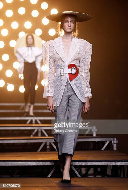 A model walks the runway during the Jacquemus show as part of the Paris Fashion Week Womenswear Spring/Summer 2017 on September 27 2016 in Paris...