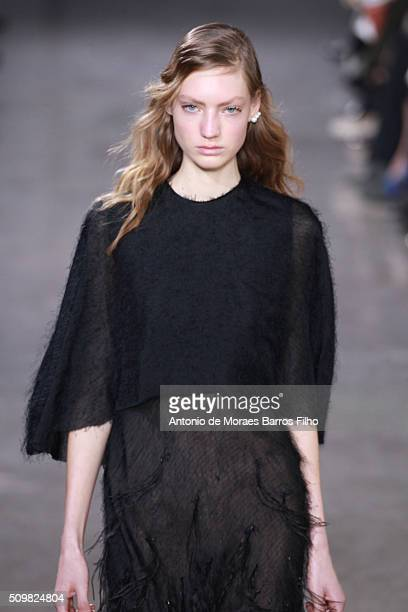 A model walks the runway during the Jason Wu show as a part of Fall 2016 New York Fashion Week at Spring Studios on February 12 2016 in New York City