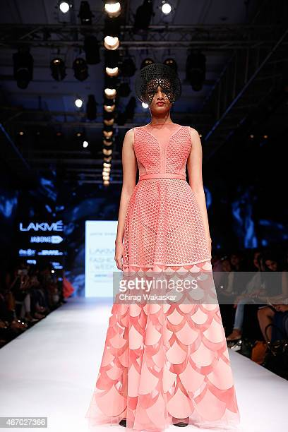 A model walks the runway during the Jatin Varma show on day3 as part of Lakme Fashion Week Summer/Resort 2015 at Palladium Hotel on March 20 2015 in...