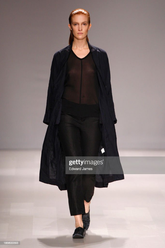 A model walks the runway during the JBNY fashion show at David Pecaut Square on October 22, 2013 in Toronto, Canada.
