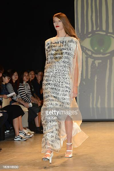 A model walks the runway during the Jean Charles de Castelbajac show as part of the Paris Fashion Week Womenswear Spring/Summer 2014 at the Espace...