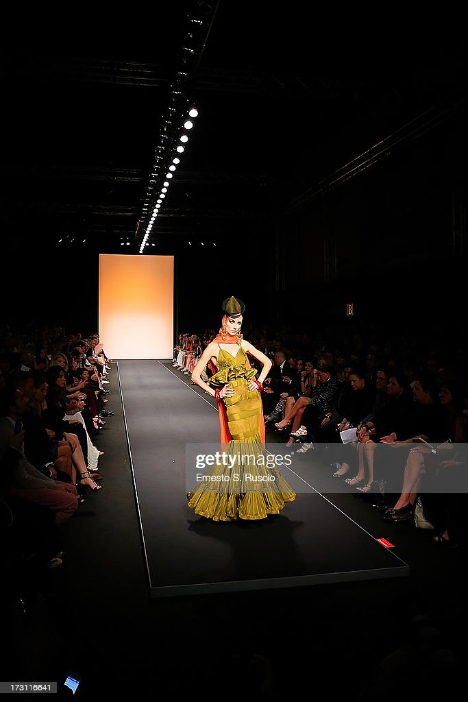 A model walks the runway during the Jean Paul Gaultier Couture fashion show as part of AltaRoma AltaModa Fashion Week Autumn/Winter 2013 on July 7, 2013 in Rome, Italy.