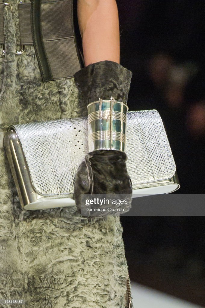 A model (bag and glove detail) walks the runway during the Jean Paul Gaultier Fall/Winter 2013 Ready-to-Wear show as part of Paris Fashion Week on March 2, 2013 in Paris, France.