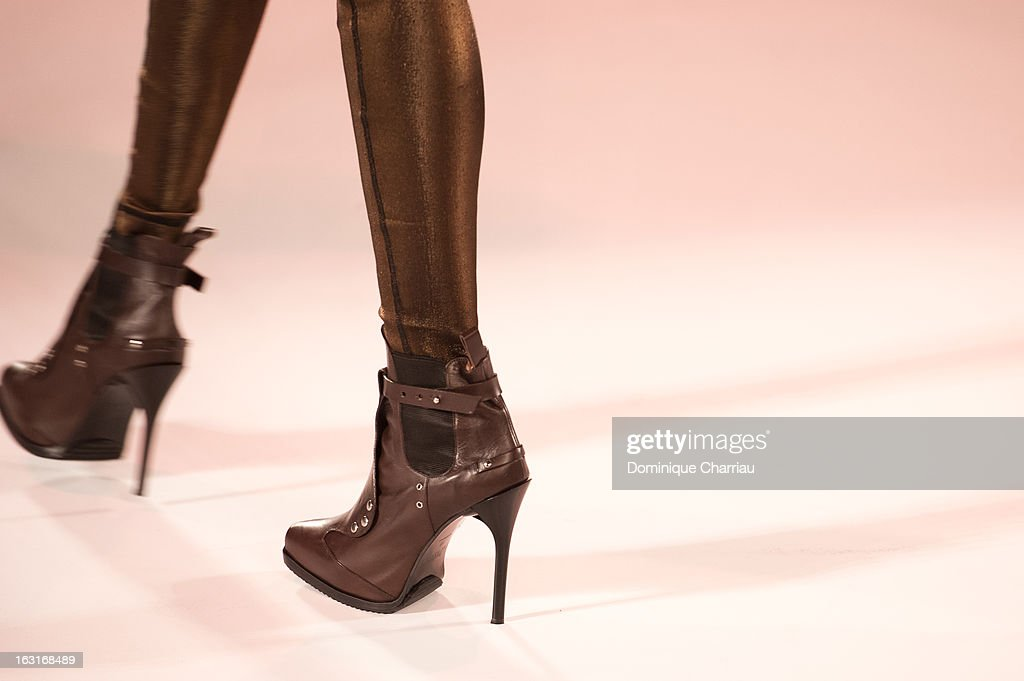 A model (shoe detail) walks the runway during the Jean Paul Gaultier Fall/Winter 2013 Ready-to-Wear show as part of Paris Fashion Week on March 2, 2013 in Paris, France.