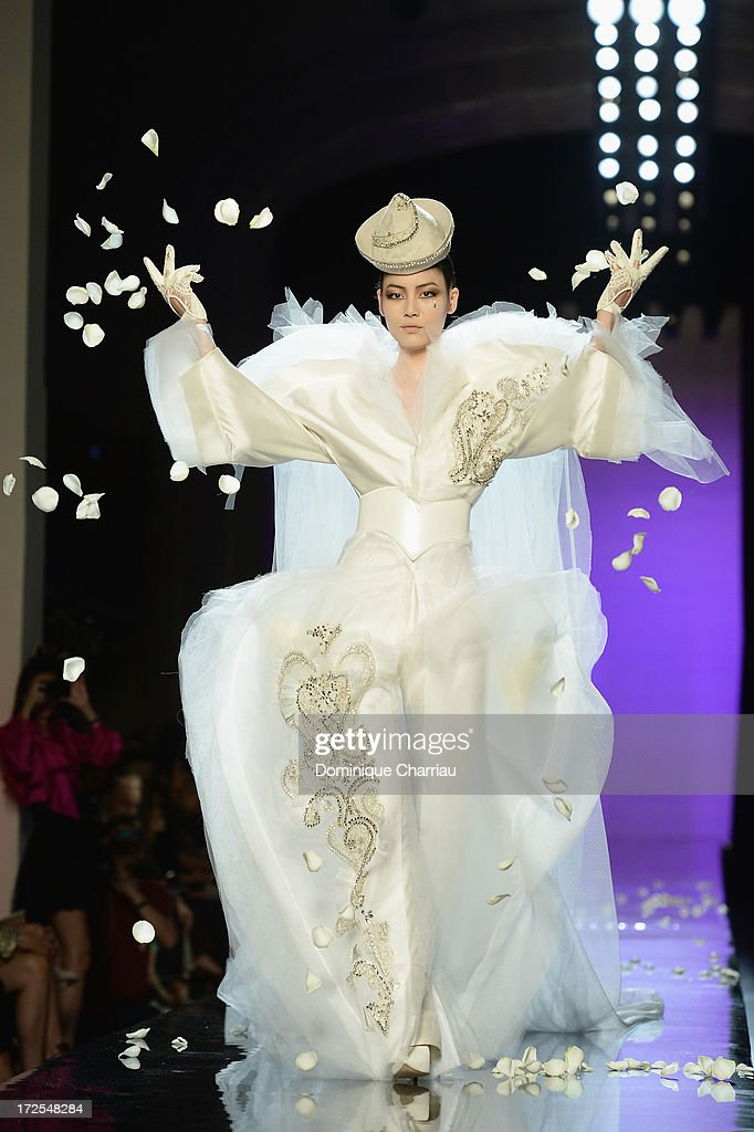 A model walks the runway during the Jean Paul Gaultier show as part of Paris Fashion Week Haute-Couture Fall/Winter 2013-2014 at 325 Rue Saint Martin on July 3, 2013 in Paris, France.