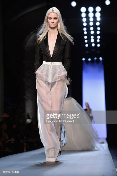 A model walks the runway during the Jean Paul Gaultier show as part of Paris Fashion Week Haute Couture Spring/Summer 2015 on January 28 2015 in...