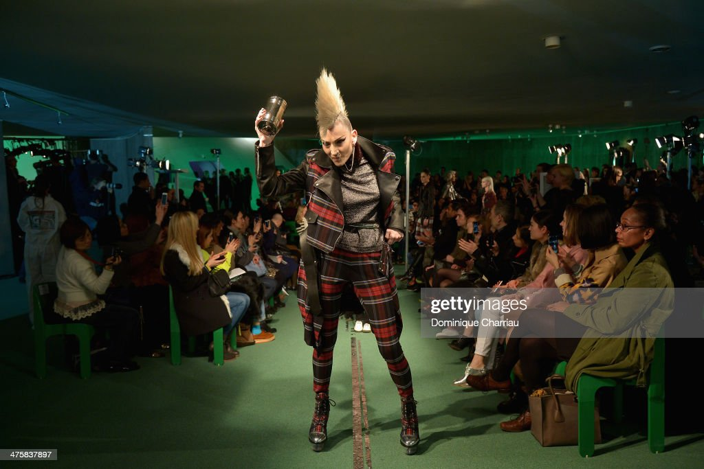 A model walks the runway during the Jean Paul Gaultier show as part of the Paris Fashion Week Womenswear Fall/Winter 2014-2015 on March 1, 2014 in Paris, France.