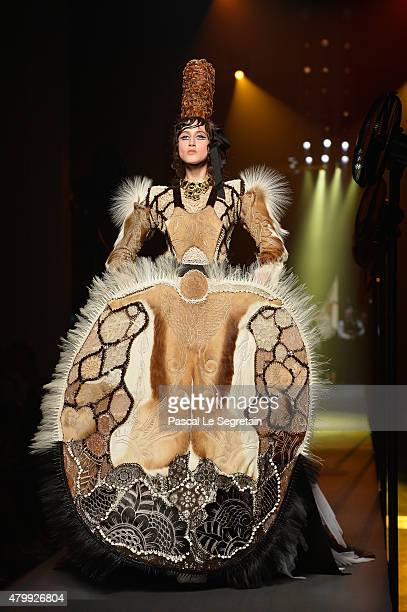 A model walks the runway during the Jean Paul Gaultier show as part of Paris Fashion Week Haute Couture Fall/Winter 2015/2016 on July 8 2015 in Paris...