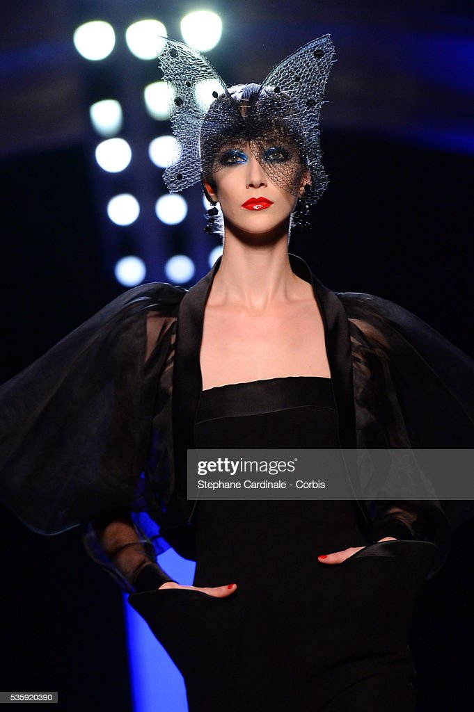 A model walks the runway during the Jean Paul Gaultier show as part of Paris Fashion Week Haute Couture Spring/Summer 2014, in Paris.