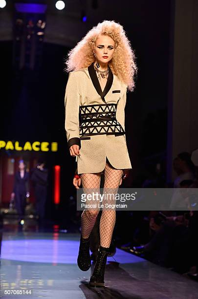 A model walks the runway during the Jean Paul Gaultier Spring Summer 2016 show as part of Paris Fashion Week on January 27 2016 in Paris France