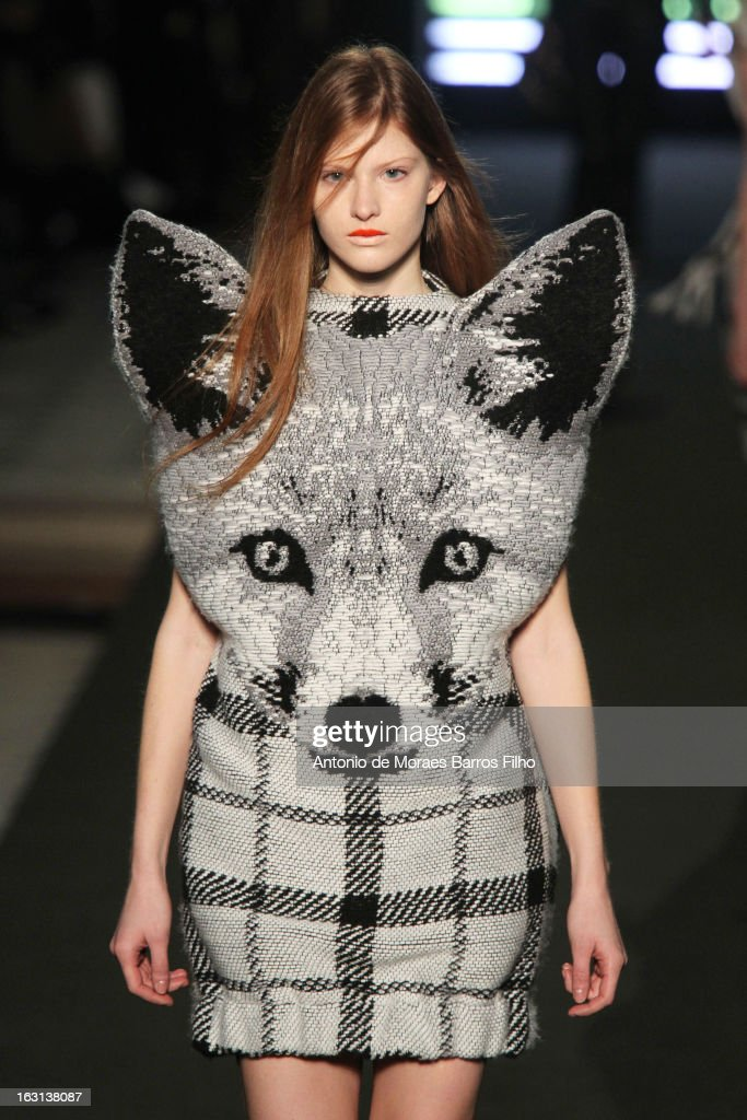 A model walks the runway during the Jean-Charles De Castelbajac Fall/Winter 2013 Ready-to-Wear show as part of Paris Fashion Week on March 5, 2013 in Paris, France.