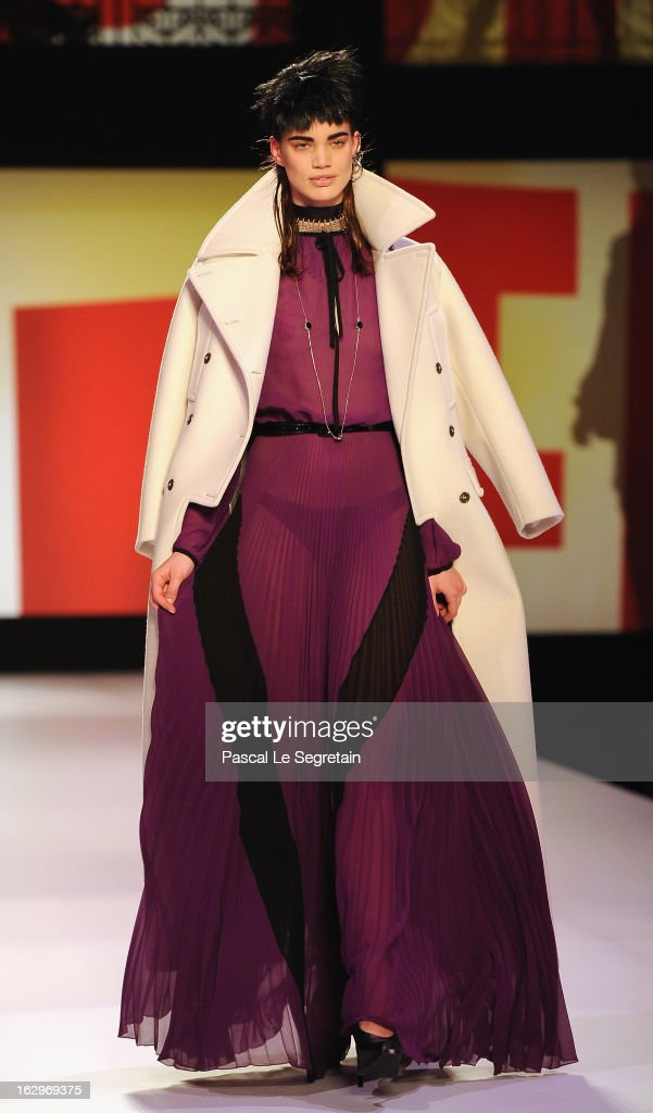 A model walks the runway during the Jean-Paul Gaultier Fall/Winter 2013 Ready-to-Wear show as part of Paris Fashion Week on March 2, 2013 in Paris, France.