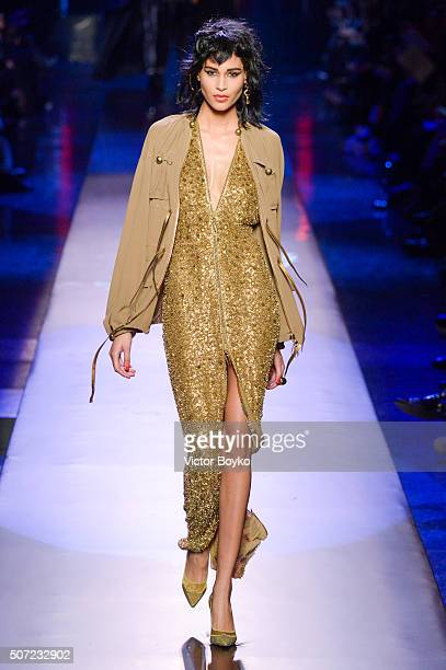 A model walks the runway during the JeanPaul Gaultier Haute Couture Spring Summer 2016 show as part of Paris Fashion Week on January 27 2016 in Paris...