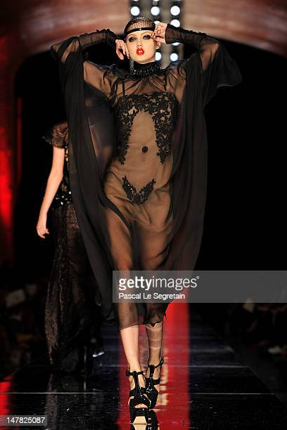 A model walks the runway during the JeanPaul Gaultier HauteCouture show as part of Paris Fashion Week Fall / Winter 2012/13 on July 4 2012 in Paris...
