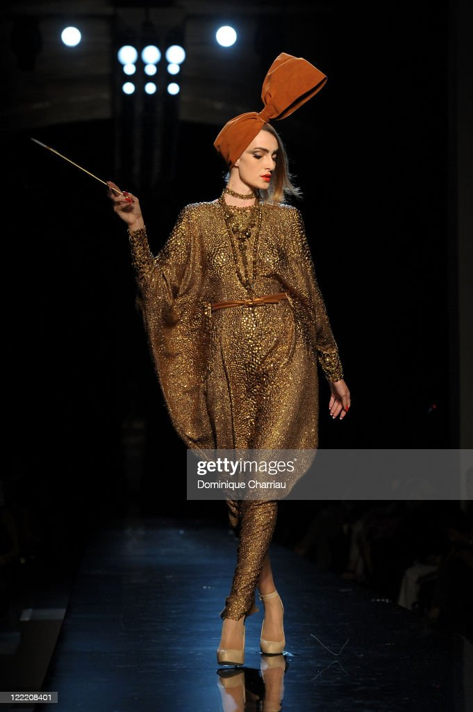 A model walks the runway during the Jean-Paul Gaultier show as part of the Paris Haute Couture Fashion Week Fall/Winter 2011 on July 7, 2010 in Paris, France.