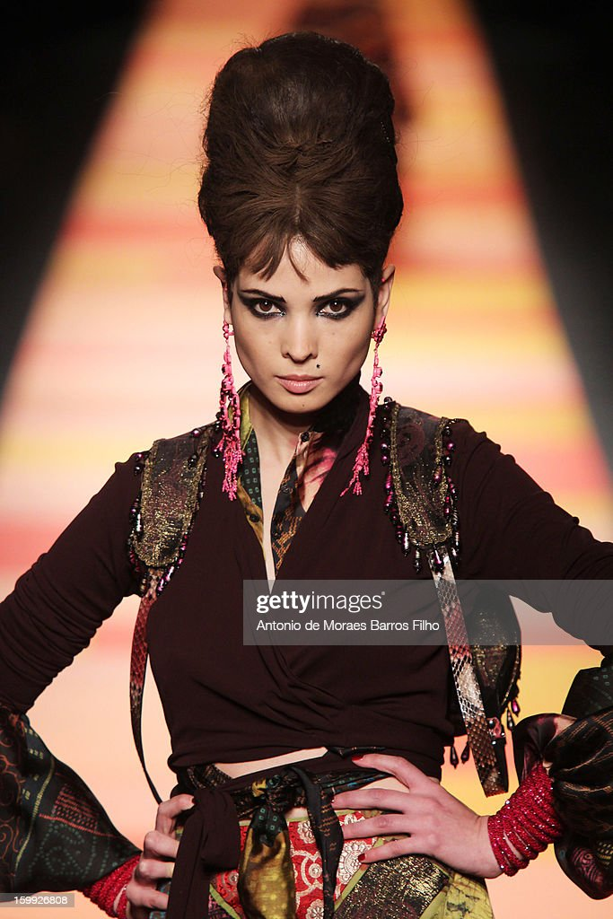 A model walks the runway during the Jean-Paul Gaultier Spring/Summer 2013 Haute-Couture show as part of Paris Fashion Week at on January 23, 2013 in Paris, France.