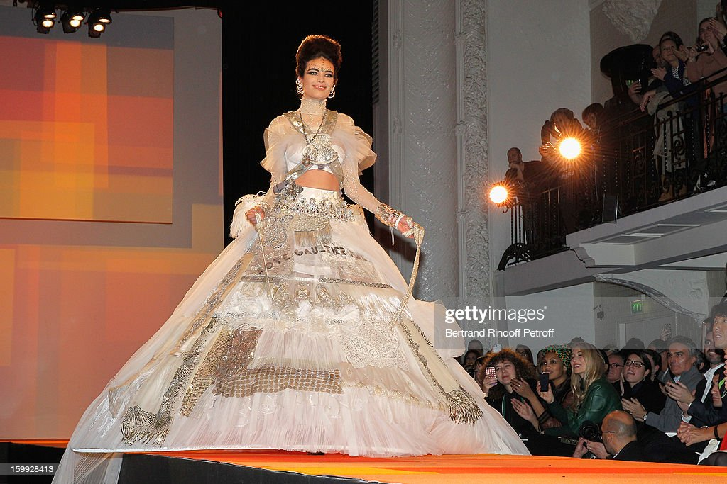 A model walks the runway during the Jean-Paul Gaultier Spring/Summer 2013 Haute-Couture show as part of Paris Fashion Week on January 23, 2013 in Paris, France.