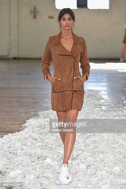 A model walks the runway during the Jennifer Kate show at MercedesBenz Fashion Week Australia 2015 at Carriageworks on April 15 2015 in Sydney...