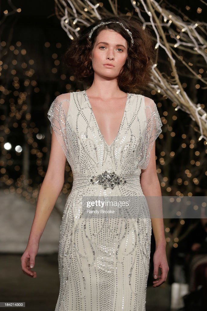A model walks the runway during the Jenny Packham Fall 2014 Bridal collection show & 25th anniversary reception on October 11, 2013 in New York City.