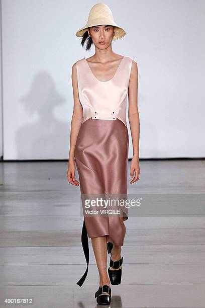 A model walks the runway during the Jil Sander Ready to Wear fashion show as part of Milan Fashion Week Spring/Summer 2016 on September 26 2015 in...