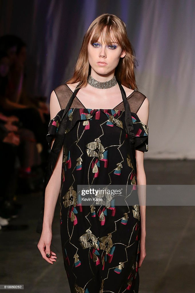 A model walks the runway during the Jill Stuart runway show at Industria Superstudio on February 13, 2016 in New York City.