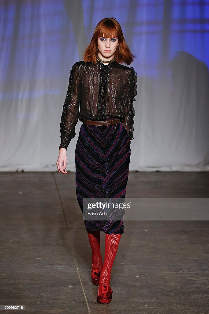 A model walks the runway during the Jill Stuart runway show during Fall 2016 New York Fashion Week at Industria Superstudio on February 13, 2016 in New York City.