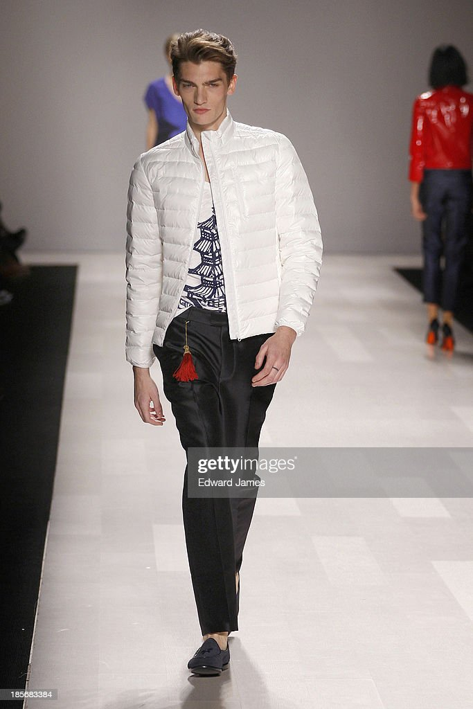 A model walks the runway during the Joe Fresh fashion show at David Pecaut Square on October 23, 2013 in Toronto, Canada.