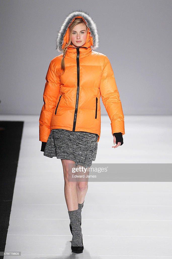 A model walks the runway during the Joe Fresh fashion show during World Mastercard fashion week on March 19 2014 in Toronto Canada