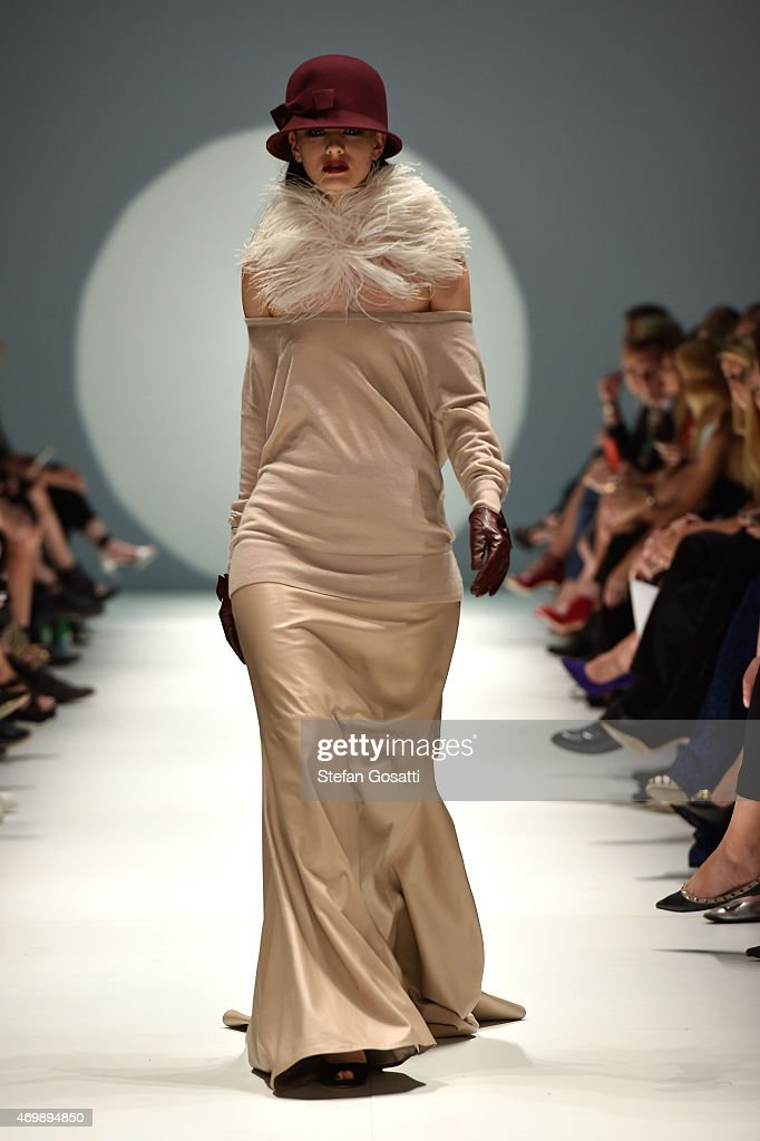 A model walks the runway during the Johanna Johnson Presented By Capitol Grand show at MercedesBenz Fashion Week Australia 2015 at Carriageworks on...