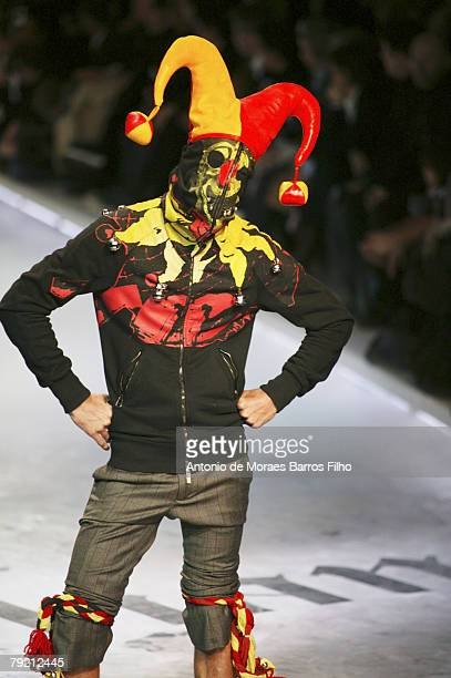A model walks the runway during the John Galliano Menswear fashion show part of the Paris Menswear Autumn/Winter 2008/09 Fashion Week on January 18...