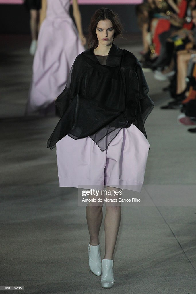 A model walks the runway during the John Galliano Spring / Summer 2013 show as part of Paris Fashion Week on September 30, 2012 in Paris, France.