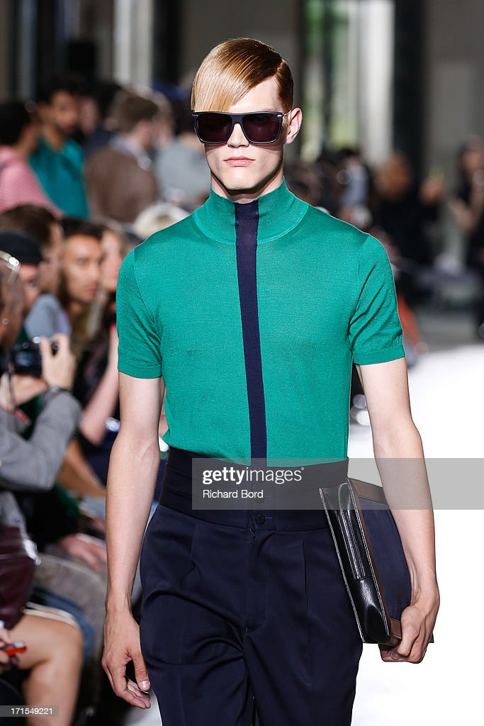 A model walks the runway during the John Lawrence Sullivan Menswear Spring/Summer 2014 show at Palais de Tokyo as part of the Paris Fashion Week on June 26, 2013 in Paris, France.