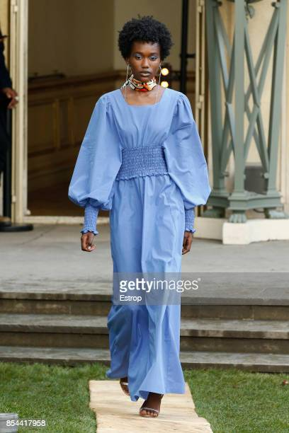 A model walks the runway during the Jour/Ne show as part of the Paris Fashion Week Womenswear Spring/Summer 2018 on September 26 2017 in Paris France