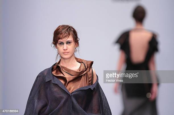 A model walks the runway during the Julia y Renata Show as part of MercedesBenz Fashion Week Mexico Fall/Winter 2015 day 4 at Campo Marte on April 17...