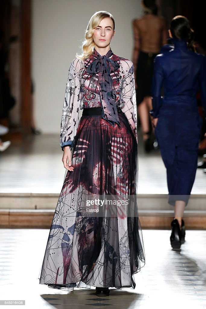 A model walks the runway during the Julien Fournie Haute Couture Fall/Winter 20162017 show as part of Paris Fashion Week on July 5 2016 in Paris...