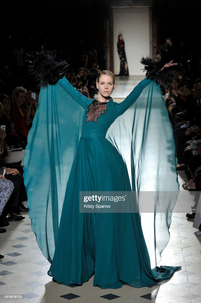 A model walks the runway during the Julien Fournie show as part of Paris Fashion Week Haute Couture Fall/Winter 20142015 at Oratoire Du Louvre on...