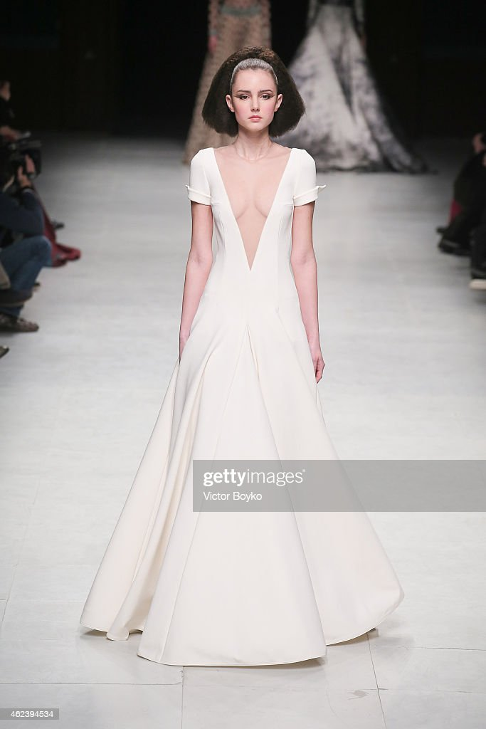 A model walks the runway during the Julien Fournie show as part of Paris Fashion Week Haute Couture Spring/Summer 2015 on January 27 2015 in Paris...