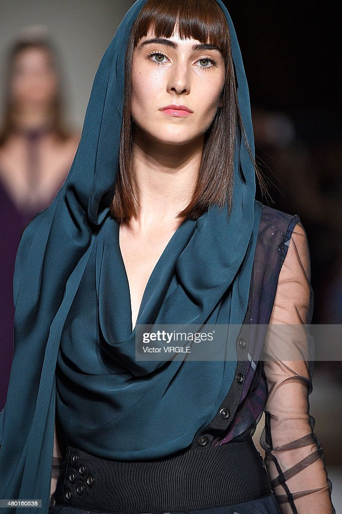 A model walks the runway during the Julien Fournie show as part of Paris Fashion Week Haute Couture Fall/Winter 2015/2016 on July 7 2015 in Paris...
