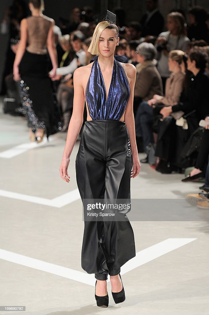 A model walks the runway during the Julien Fournie Spring/Summer 2013 Haute-Couture show as part of Paris Fashion Week at Cite de l'Architecture et du Patrimoine on January 22, 2013 in Paris, France.