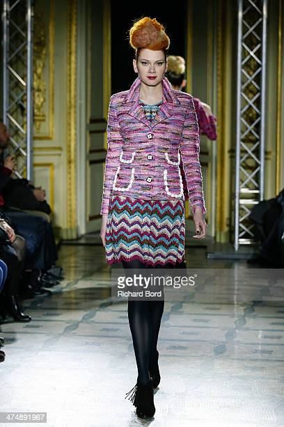 A model walks the runway during the Junko Maeda show as part of the Paris Fashion Week Womenswear Fall/Winter 20142015 at Hotel Meurice on February...