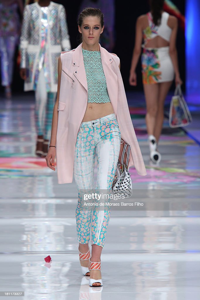 A model walks the runway during the Just Cavalli show as a part of Milan Fashion Week Womenswear Spring/Summer 2014 on September 19, 2013 in Milan, Italy.