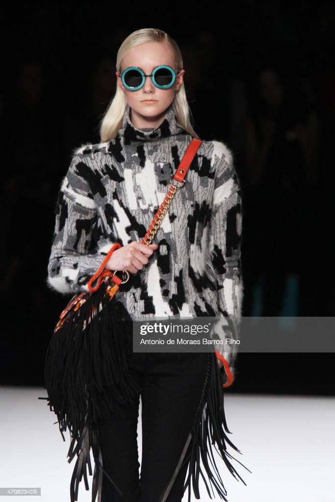 A model walks the runway during the Just Cavalli show as a part of Milan Fashion Week Womenswear Autumn/Winter on February 20 2014 in Milan Italy