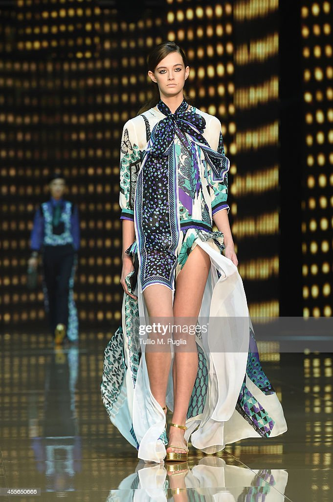A model walks the runway during the Just Cavalli show as part of Milan Fashion Week Womenswear Spring/Summer 2015 on September 18 2014 in Milan Italy