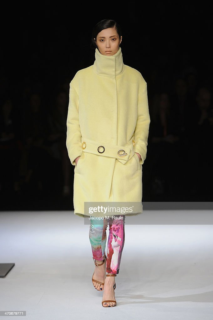 A model walks the runway during the Just Cavalli show as part of Milan Fashion Week Womenswear Autumn/Winter 2014 on February 20, 2014 in Milan, Italy.