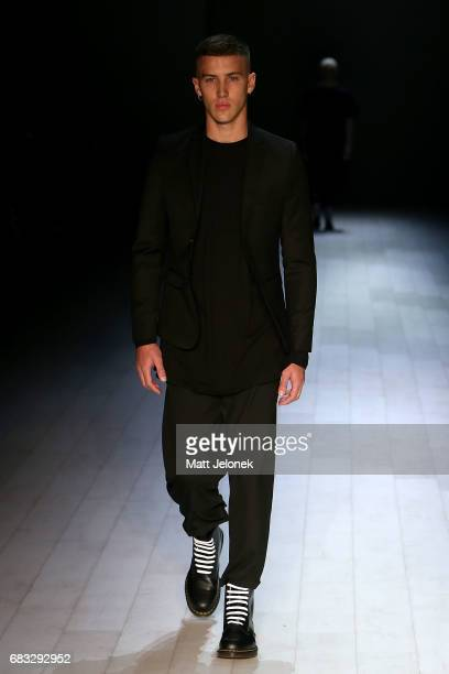 A model walks the runway during the Justin Cassin show at MercedesBenz Fashion Week Resort 18 Collections at Carriageworks on May 15 2017 in Sydney...