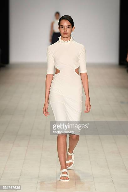 A model walks the runway during the Karla Spetic show at MercedesBenz Fashion Week Resort 17 Collections at Carriageworks on May 17 2016 in Sydney...