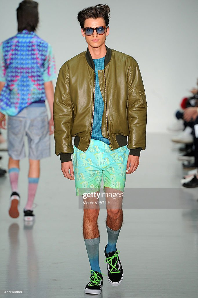 A model walks the runway during the Katie Eary Ready to Wear Spring Summer 2016 fashion show during London Menswear Fashion Week on June 15 2015 in...