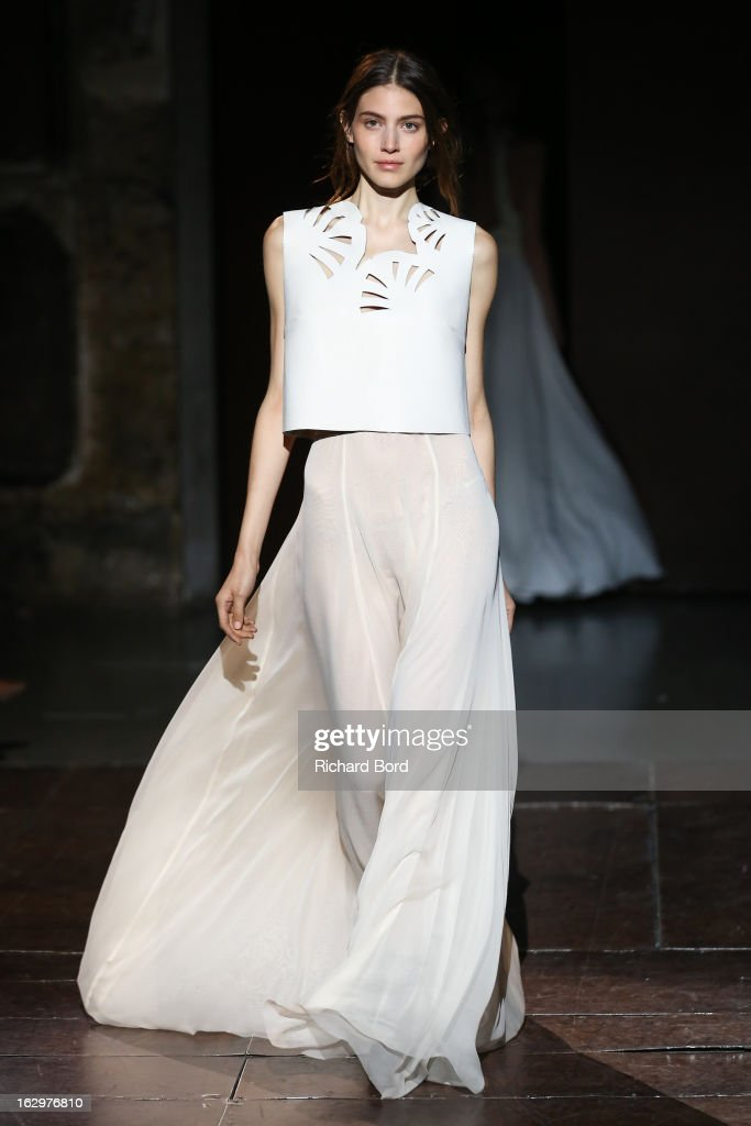 A model walks the runway during the Kaviar Gauche Fall/Winter 2013 Ready-to-Wear show as part of Paris Fashion Week at Couvent Des Recollets on March 2, 2013 in Paris, France.