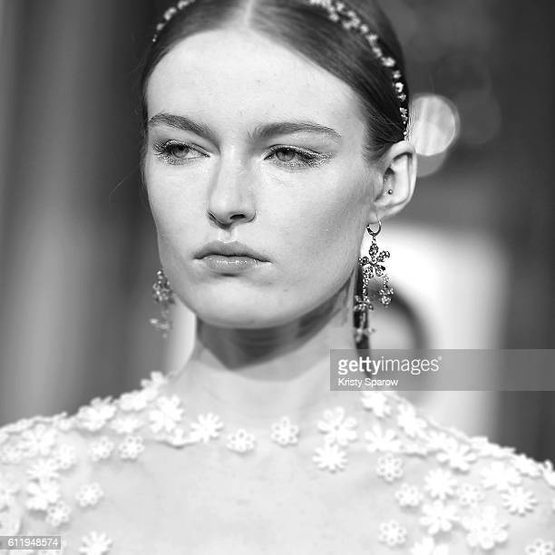 A model walks the runway during the Kaviar Gauche show as part of Paris Fashion Week Womenswear Spring/Summer 2017 on October 1 2016 in Paris France