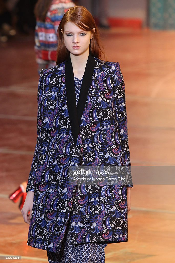 A model walks the runway during the Kenzo Fall/Winter 2013 Ready-to-Wear show as part of Paris Fashion Week on March 3, 2013 in Paris, France.